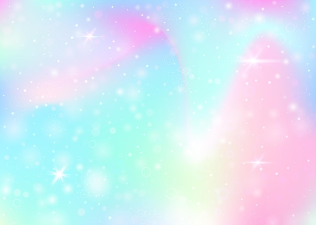 Hologram background with rainbow mesh. liquid universe banner in princess colors. fantasy gradient backdrop. hologram unicorn background with fairy sparkles, stars and blurs.