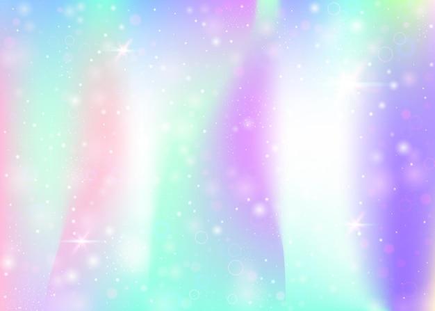무지개 메쉬와 홀로그램 배경입니다. 공주 색상의 트렌디한 우주 배너입니다. 판타지 그라데이션 배경입니다. 요정 반짝임, 별, 흐림 효과가 있는 홀로그램 마법의 배경.