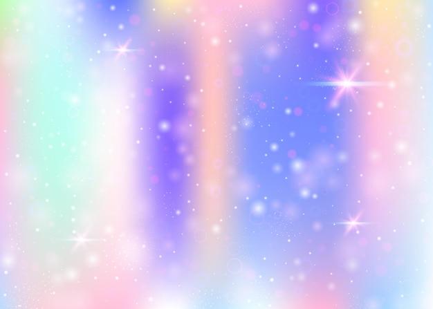 무지개 메쉬와 홀로그램 배경입니다. 공주 색상의 트렌디한 우주 배너입니다. 판타지 그라데이션 배경입니다. 요정 반짝임, 별 및 흐림 효과가 있는 홀로그램 유니콘 배경.