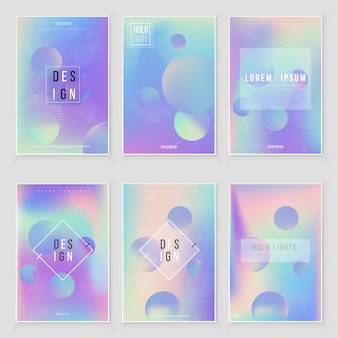 Hologram  blurred background set blurred abstract iridescent holographic foil background.