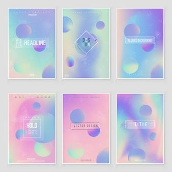 Hologram  blurred cover set blurred abstract iridescent holographic foil background