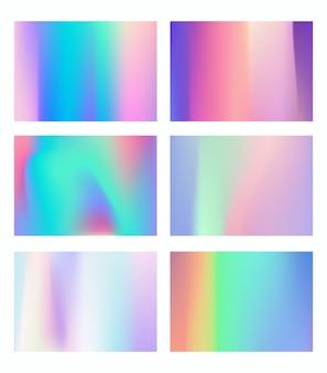Hologram bright colorful backgrounds set for design card