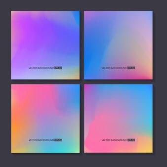 Набор ярких красочных фонов голограммы. сетка-шаблон. дизайн для поздравительной открытки