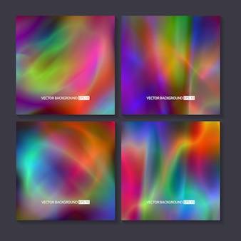 Набор ярких красочных фонов голограммы.