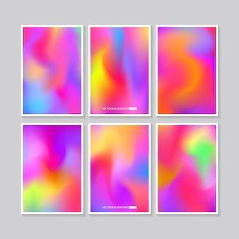 Hologram bright colorful  set mesh template design