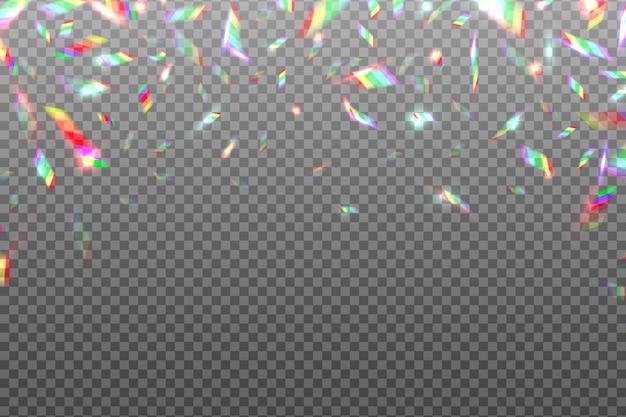 ホログラムグリッチ虹の背景。クリスタルシャイニングメタリック虹色箔分離