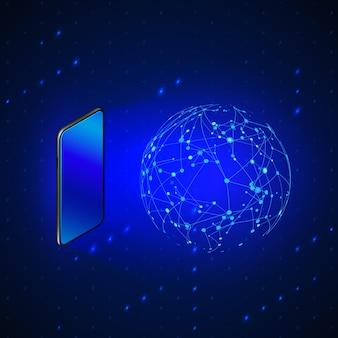 Голограмма глобальной сети с помощью мобильного экрана. технологии будущего и мобильный интернет.