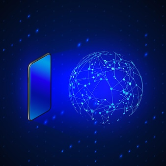 Hologram global networking by mobile screen. future technology  and mobile internet.