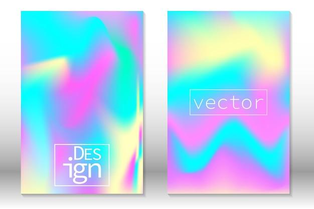 홀로그램 그라데이션 배경입니다. 홀로그램 커버 세트입니다. 배너, 초대장, 모바일 화면을 위한 무지개 빛깔의 그래픽 템플릿입니다.