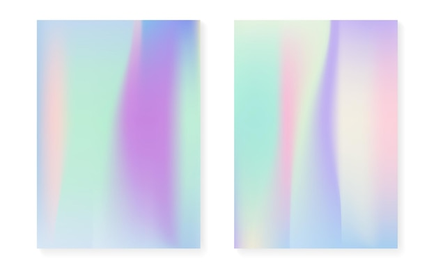 Hologram gradient background set with holographic cover. 90s, 80s retro style. iridescent graphic template for flyer, poster, banner, mobile app. hipster minimal hologram gradient.