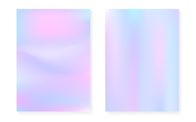 Hologram gradient background set with holographic cover. 90s, 80s retro style. pearlescent graphic template for book, annual, mobile interface, web app. bright minimal hologram gradient.