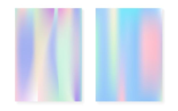 Hologram gradient background set with holographic cover. 90s, 80s retro style. pearlescent graphic template for book, annual, mobile interface, web app. rainbow minimal hologram gradient.