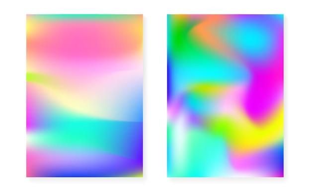 홀로그램 커버가 있는 홀로그램 그라데이션 배경. 90년대, 80년대 레트로 스타일. 브로셔, 배너, 벽지, 모바일 화면용 진주빛 그래픽 템플릿. 세련된 최소한의 홀로그램 그라데이션.