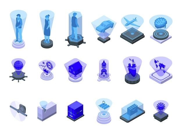 홀로그램 프로젝션 아이콘은 아이소메트릭 벡터를 설정합니다. 현실을 경험하다