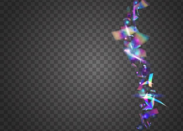 Hologram sparkles. holiday art. pink party glare. shiny celebrate serpentine. disco flyer. cristal confetti. flying foil. transparent texture. violet hologram sparkles