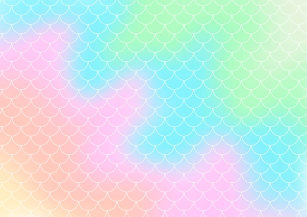 Hologram style gradient background with a mermaid scales pattern