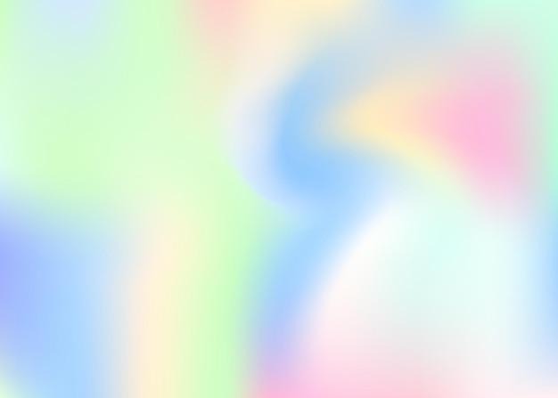 홀로그램 추상적인 배경입니다. 그라디언트 메쉬가 있는 다채로운 홀로그램 배경입니다. 90년대, 80년대 레트로 스타일. 브로셔, 전단지, 포스터 디자인, 벽지, 모바일 화면에 대한 무지개 빛깔의 그래픽 템플릿.