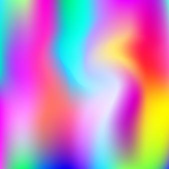ホログラフィック抽象的な背景。グラデーションメッシュを使用した未来的なホログラフィック背景。 90年代、80年代のレトロなスタイル。バナー、チラシ、カバーデザイン、モバイルインターフェイス、ウェブアプリの虹色のグラフィックテンプレート。