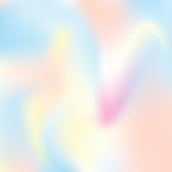 ホログラフィック抽象的な背景。グラデーションメッシュを使用した未来的なホログラフィック背景。 90年代、80年代のレトロなスタイル。パンフレット、チラシ、ポスターデザイン、壁紙、モバイル画面の真珠光沢のあるグラフィックテンプレート。