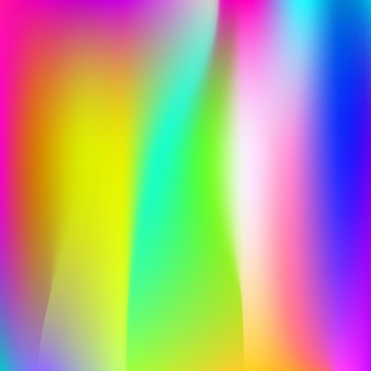 Holographic abstract background. multicolor holographic backdrop with gradient mesh. 90s, 80s retro style. pearlescent graphic template for brochure, flyer, poster design, wallpaper, mobile screen.
