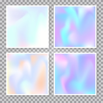 Holographic abstract background set.