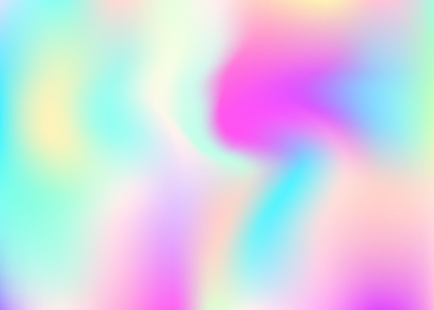 Holographic abstract background. trendy holographic backdrop with gradient mesh. 90s, 80s retro style. iridescent graphic template for book, annual, mobile interface, web app.