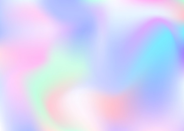 Holographic abstract background. trendy holographic backdrop with gradient mesh. 90s, 80s retro style. pearlescent graphic template for placard, presentation, banner, brochure.