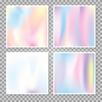 Holographic abstract backgrounds set. minimal holographic backdrop with gradient mesh. 90s, 80s retro style. pearlescent graphic template for brochure, flyer, poster, wallpaper, mobile screen.