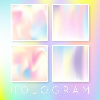 홀로그램 추상적인 배경을 설정합니다. 그라디언트 메쉬가 있는 최소 홀로그램 배경입니다. 90년대, 80년대 레트로 스타일. 브로셔, 전단지, 포스터, 벽지, 모바일 화면을 위한 진주빛 그래픽 템플릿.