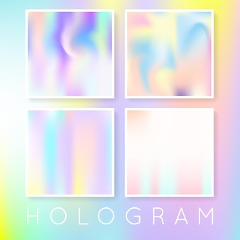 Holographic abstract backgrounds set. multicolor holographic backdrop with gradient mesh. 90s, 80s retro style. pearlescent graphic template for brochure, flyer, poster, wallpaper, mobile screen.