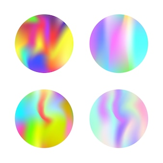 Holographic abstract backgrounds set.