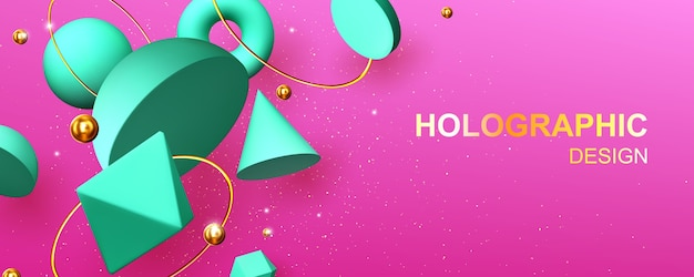 Holographic abstract design banner with geometric 3d shapes hemisphere, octahedron, sphere or torus, cone, cylinder and pyramid with icosahedron on pink background with gold pearls vector illustration