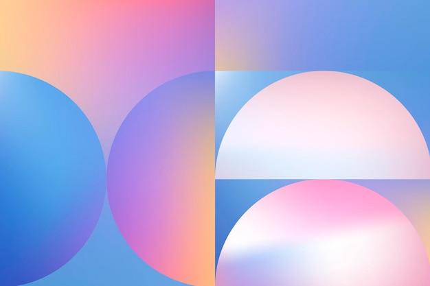 홀로그램 배경, 바우하우스 핑크 그라데이션 벡터