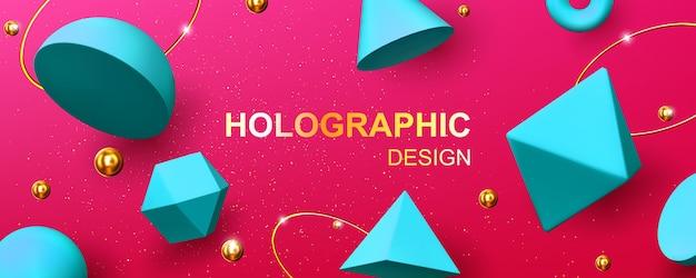 3d幾何学的形状、金色のボール、リング、キラキラとホログラフィック背景。ピンクの背景にターコイズブルーのレンダリングフィギュア、コーン、ピラミッド、八面体、トーラスの抽象的なデザイン