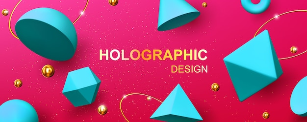 Holographic background with 3d geometric shapes, golden balls, rings and glitter. abstract design with turquoise render figures, cone, pyramid, octahedron and torus on pink background