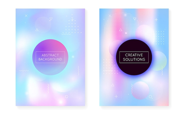 Holographic background with liquid shapes. dynamic bauhaus gradient with memphis fluid cover. graphic template for book, annual, mobile interface, web app. hipster holographic background.