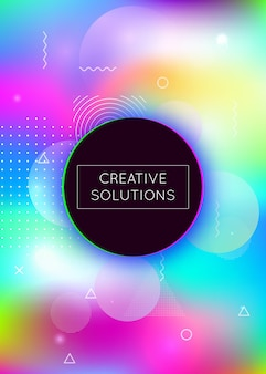 Holographic background with liquid shapes. dynamic bauhaus gradient with memphis fluid elements. graphic template for brochure, banner, wallpaper, mobile screen. trendy holographic background.