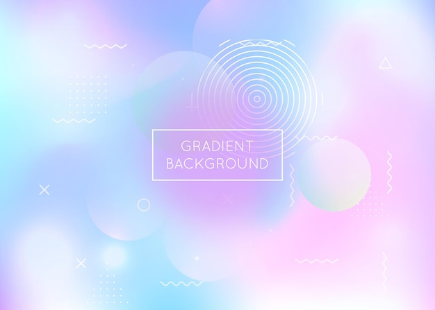 Holographic background with liquid shapes. dynamic bauhaus gradient with memphis fluid elements. graphic template for flyer, ui, magazine, poster, banner and app. plastic holographic background.
