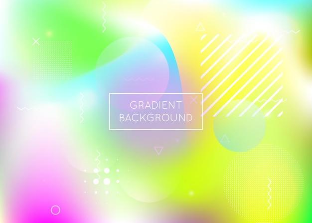 액체 모양의 홀로그램 배경입니다. 멤피스 유체 요소가 있는 동적 바우하우스 그라데이션. 전단지, ui, 잡지, 포스터, 배너 및 앱용 그래픽 템플릿입니다. 세련 된 홀로그램 배경입니다.