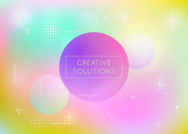Holographic background with liquid shapes. dynamic bauhaus gradient with memphis fluid elements. graphic template for placard, presentation, banner, brochure. iridescent holographic background.