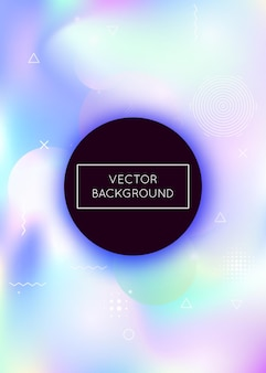 Holographic background with liquid shapes. dynamic bauhaus gradient with memphis fluid elements. graphic template for placard, presentation, banner, brochure. multicolor holographic background.