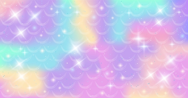 Holographic background with mermaid scales and magic stars. a pattern with a mermaid's tail on a gradient. marine underwater pattern.