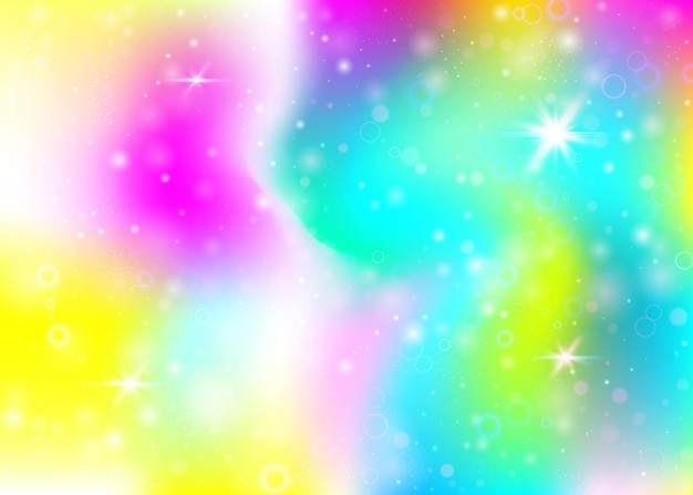 Holographic background with rainbow mesh. girlie universe banner in princess colors. fantasy gradient backdrop with hologram. holographic unicorn background with fairy sparkles, stars and blurs.