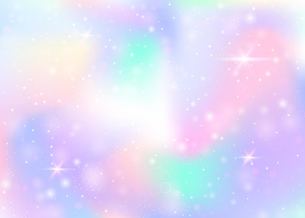 Holographic background with rainbow mesh. mystical universe banner in princess colors.
