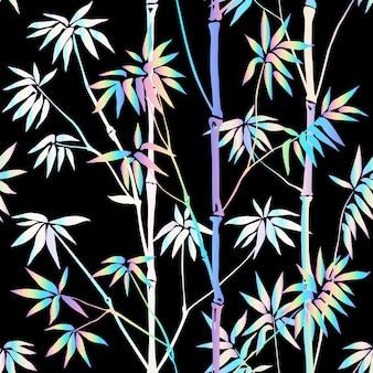 ホログラフィック竹シームレスパターントロピカルネオン壁紙未来的なテキスタイルプリント