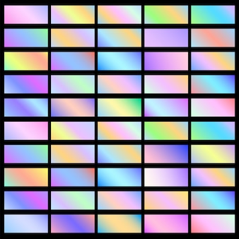 Holographic banners horizontal gradient backgrounds, set.