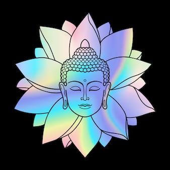 Голографическая голова будды и лотос модные текстильные принты талисманы и амулеты
