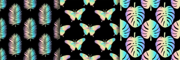 Holographic butterfly palm and monstera leaves seamless patterns set