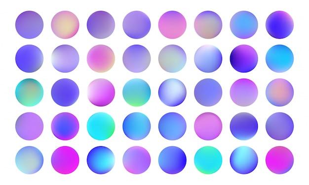홀로그램 원형 단추 세트. 부드러운 흐릿한 네온 그라데이션 생생한 컬러 컬렉션