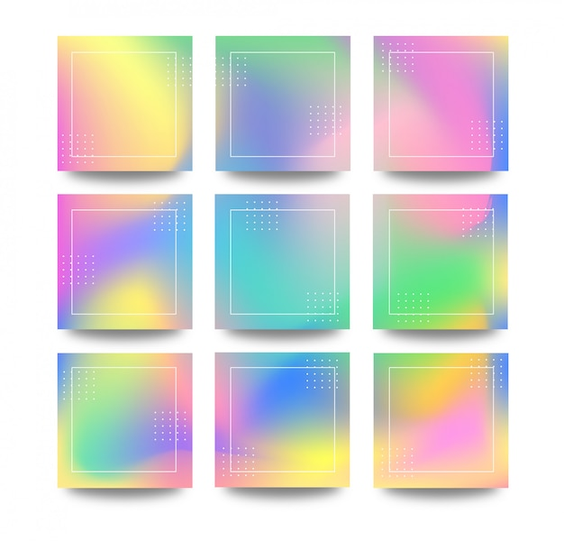 Holographic colorful gradient grid puzzle background for social media and banner post